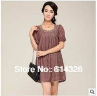 New 2014 Summer Women Cute Puff Sleeve Dress Chiffon Dresses Casual Dress Stereo Flower Embroidery Lace Plus Size Women Dress