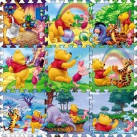 Factory price 9 Pcs per lot Cartoon Floor Mat Baby's Climb Blanket Eva Foam Puzzle Mat Game Carpet Winnie Crawling Rug