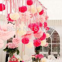 "Free Shipping 50pcs (8""/20cm) Tissue Pom Poms Paper Flower Ball Nursery Decor Craft Wedding Birthday Party Decorations"
