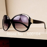 Free shipping fashion glasses for women size square metal rivet frog mirror sun glasses with sunglasses box