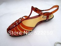 [(My God)] Cutout t belt transparent sandals small red shoes - WARRIOR plastic HOT 2014 womens new summer