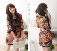 Fashion New Women V-neck Ethnic Half Sleeved One-piece High Waist Viscose Slim Dress,Lady Sexy Casual Autumn/Summer Dresses*D01