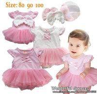 new 2014 Baby Girl princess Angel Wings summer rompers, short sleeves, TUTU ,baby clothing,3pcs/lot