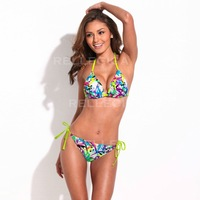 New Bikini Brazilian 3/4 cup Swimwear women Doodle Print Triangle Top  with Neon Yellow Ties Swimsuit