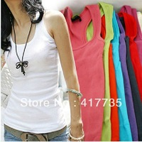 Lowest Price Summer 2013 Hot selling Woven Cotton Rib Knitting Women's Tank Tops Long Design Beautiful 18 Colors to Choose