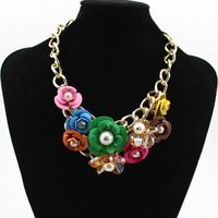 Europe Style 2014 New Fashion Big Flower Charms Choker Statement Necklace Jewelry For  Women  Gift Jewelry DFX-97