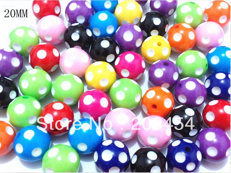 Newest !!20mm 100pcs/lot Mix Acrylic Polka Dot Beads,Chunky Beads For Chunky Jewellery Making(China (Mainland))