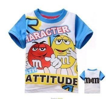Boys Girls 2-7Yrs Summer Clothing Children Cartoon Short Sleeve T Shirts M&M Cotton Tops   6pcs/lot Free Shipping