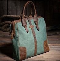 women's vintage canvas handbag  with crazy horse leather flap, green/Khaki bag
