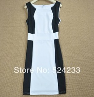 L Size New Women Work Tank Sleeveless Knee-length Long Dress OL White&Black Contrast Color Lady Career Dress Sexy One-piece D27