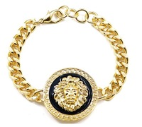 Rihanna Celebrity Jewelry Round Lion Head Queen Of The Jungle Chain Link Bracelet Gold And Black