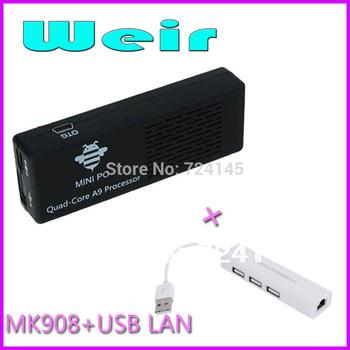 MK908 Quad Core Android 4.2 Mini PC Rk3188 Cortex-A9 1.8GHz 2GB/8GB Bluetooth Google TV Stick (1lot=1pcs mk908+1pcs USB LAN )