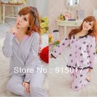 Free shipping Hot Women's Pajamas.Lace Pyjamas.Cotton NightGown.SleepWear.three-piece suite home service