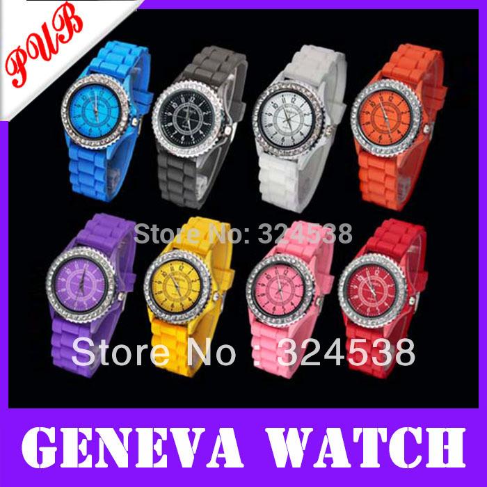 New Product luxury Fashion goods Lady brand GENEVA Diamond quartz Silicone Jelly watch for women dress watch(China (Mainland))