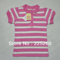 Free shipping 2013 new autumn summer lovely pink/black striped children t shirts girls' t shirts