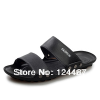 Free shipping 2014 summer breathable male cowhide male casual slippers genuine leather slippers drag