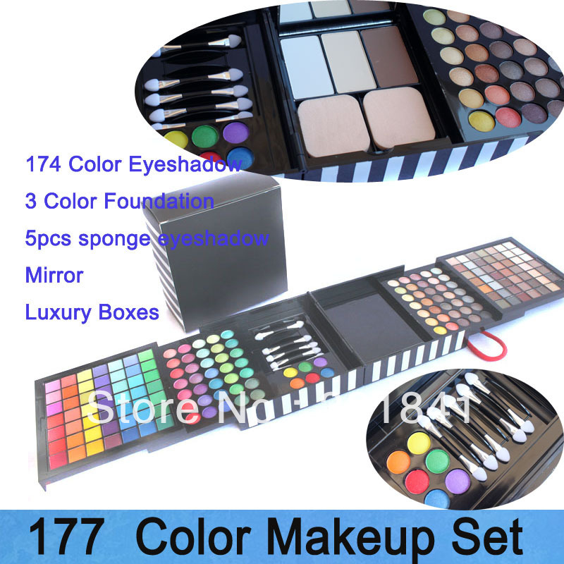 Free Shipping New 177 Color Make Up Sets, Cosmetic Kit ( Eye Shadow + Blush+ Foundation + Mirror+Brush)&Black Boxes Xmas Gift(China (Mainland))