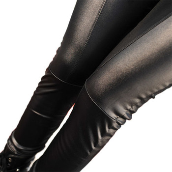 Free shipping  2013  patchwork  Imitation leather PU nine points pants drop shipping  thin  winter warm Plus velvet   2 Color