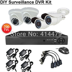 Professional DIY Video Surveillance Kit 4CH D1 Stand alone DVR 4pcs 700TVL CCD Security Camera Night Vision System(China (Mainland))