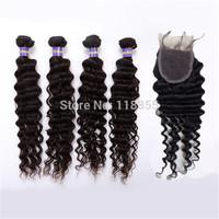 "1pcs Peruvian virgin deep wave hair lace closure 4""x4"" bleach knot with 4pcs Peruvian deep wave human hair weft free shipping"