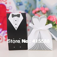 2014 Direct Selling Favor Hot Sale Bride And Groom Box ! 100pcs Wedding Favor Boxes Gift Candy