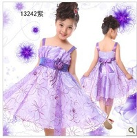 Free shipping Wholesale and retail children girls tulle princess dress with flower tank puff dress costume 6 colors choose
