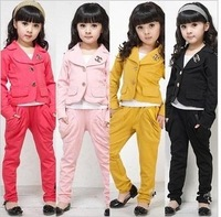 Free shipping retail 2014 spring and autumn children clothing set fashion children girls classic chic set twinset set