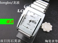 2013 new arrival Quartz watch longbo 1350 Men double calendar ceramic with double calendar watch free shipping