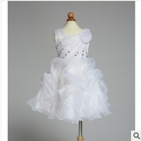 New 2014 Spring Kids Girl Clothing Wedding Form Dress Diamond Peacock Tail Flower Girl Puff Lantern Dress