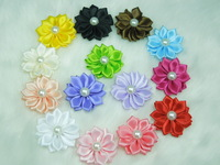 Mini Cute Satin Ribbon Multilayers  flower with Pearl Appliques Fabric flower for headband clips Hair accessories 100pcs/lot