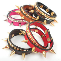 High Quality European Spike Charms Double Leather Wrap Bracelets Punk Jewelry 5pcs/lot Free Shipping
