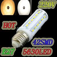 Dimming 15W 200-240V LED Corn Light E27 E14 B22 led lamp  42 LED 5730/ 5630 Warm White Cool White led  Lamp Free shipping