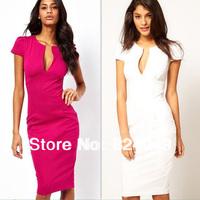 Free Shipping,2013 New Elegant V-Neck Fashion Celebrity Pencil Summer Dress,Women Wear to Work Slim Pocket Party Bodycon Dress