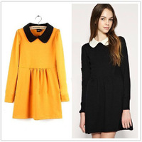 2013 New Solid Color Long-Sleeved Peter Pan Collar Knitted Autumn Dress A Line Knee Length Puff Sleeve Cotton Dress In Stock