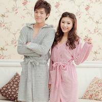 free2014 women and men sexy night bathrobe penhoar feminino brand Couples fluffy towels cotton with hood sleepwear dressing gown