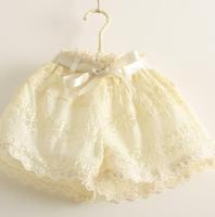 5pcs/lot  2014 KIDS PANTS new girls high quality lace stitching waist shorts  free shipping  lace shorts shorts girls kids 2014