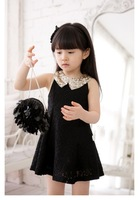Wholesale new 2013 summer printing girls dress, princess children cotton dress Lace Splice Sequined collar