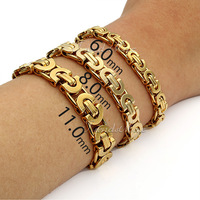 Fashion Mens Boys Chain Bracelet Stainless Steel Flat Byzantine Chain Bracelet Gold KBW45 (Width 6/8/11mm Length 7-11in)