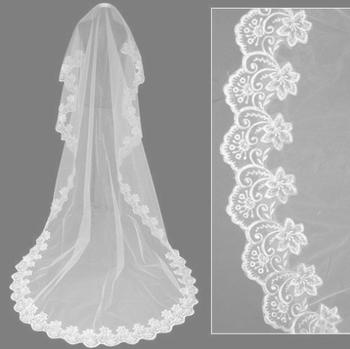 Free shipping, wholesale guarantee lace edge long wedding veil/bridal veil/bridal accessories/head veil/tulle veil PH0041