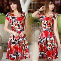 Women Summer L XL XXL 3XL4XL Floral Print Bohemia Dress Plus Size Ladies Dresses Silm Short Sleeve Chiffon One-piece Dress
