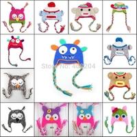 Cartoon Designs Cotton Handmade Children baby Crochet Hats Monkey and owl style hat 27 Design