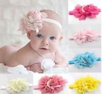 New Baby Rose Flowers Headbands Girl Chiffon Flower Headwear Headbands Kids Pearl Bow Headbands Children's Hair Accessories