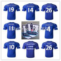 Top A+++ Chelsea jersey 2014 2015 home blue HAZARD OSCAR TERRY FABREGAS DIEGO COSTA soccer jerseys Custom name