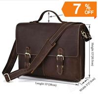 7090R Vintage Crazy Horse Leather Men's Dark Brown Briefcase Messenger laptop compartment