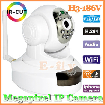 High quality EasyN H3-186V Wireless WiFi IP Camera HD 1MP CMOS CCTV PT webcam megapixels ipcam Free shipping Drop shipping