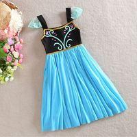 Hu sunshine retail 2014 New summer Girls Frozen Dress Frozen Print Fly Sleeve Yarn TUTU Party Dresses