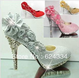 Free Shipping New 2013 Spring Autumn Women Rhinestone Pumps High Heels Ladies Wedding Shoes Big Size 34-40
