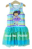 Free Shipping Dora vest dress girl  princess fashion yarn dress  Genuine party evening dress dora game blue