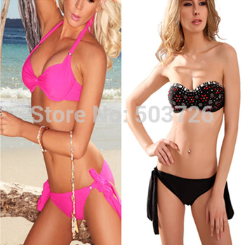 New Arrival Sexy Women Swimwear Lady Padded Strap Underwired Cups Bikini Set Pink New Swimsuit High Fashion Beachwear