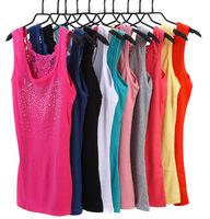 Plus Size Retail Summer Ladies' Sexy Lace Tank Tops/Cotton Crochet Hollow-out Vest Female Spaghetti Strap Vest 1pcs/lot  F-0018